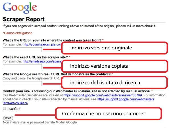 Segnalazione autore contenuto a Google